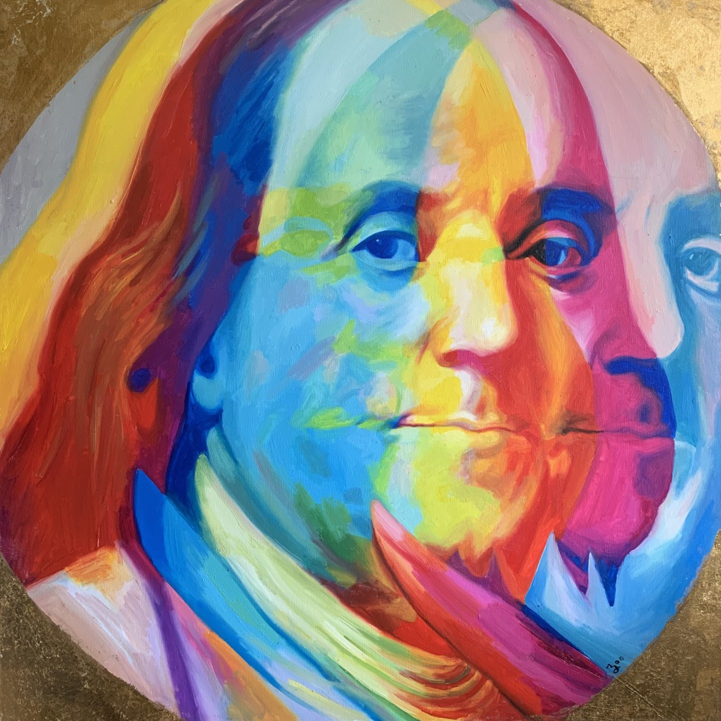 """Ben Franklin. 40"""" x 40"""". oil on canvas. 2018. custom commission."""