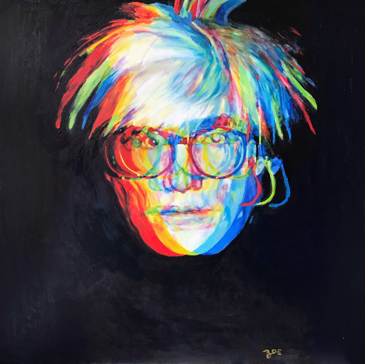 """Warhol. 40"""" x 40"""". oil on canvas. 2018. available for purchase."""