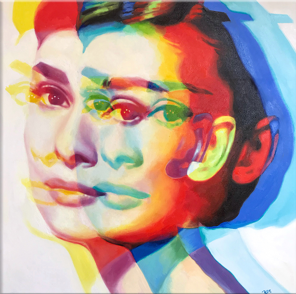 """Audrey. 40"""" x 40"""". oil on canvas. 2018. SOLD"""